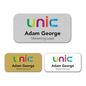 "1.5"" x 3"" Aluminum Name Badge w/Full Color Imprint & Personalization"